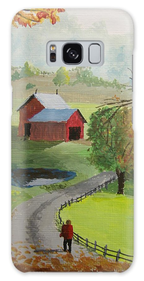 Farm Galaxy S8 Case featuring the painting Fall Walk by Norm Starks