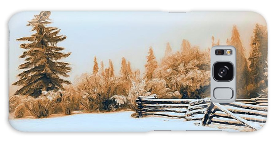 Winter Galaxy S8 Case featuring the photograph Fallen Fence Line by Roland Stanke