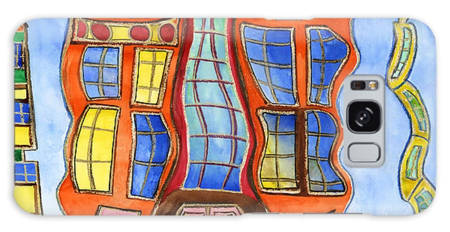 Art Galaxy S8 Case featuring the painting Fanciful Wavy House Painting by Lenora De Lude