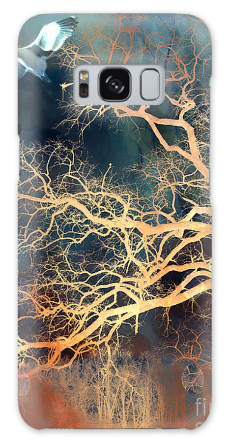 Surreal Tree And Nature Prints Galaxy S8 Case featuring the digital art Seagull Gothic Fantasy Surreal Trees And Seagull Flying by Kathy Fornal