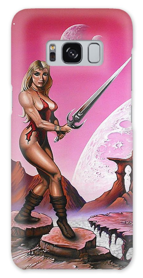 Fantasy Galaxy S8 Case featuring the painting Fantasy Warrior Princess by Sam Loveless