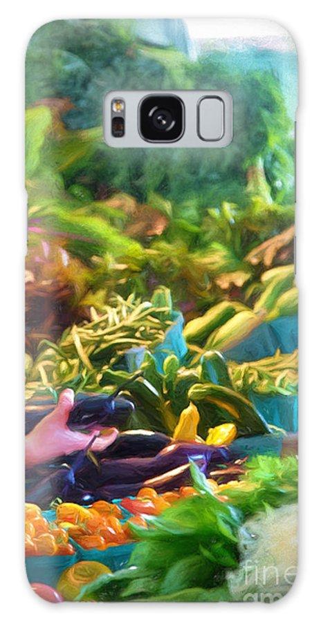 Michele Galaxy S8 Case featuring the digital art Farmer's Market Produce Stall by Michele Steffey