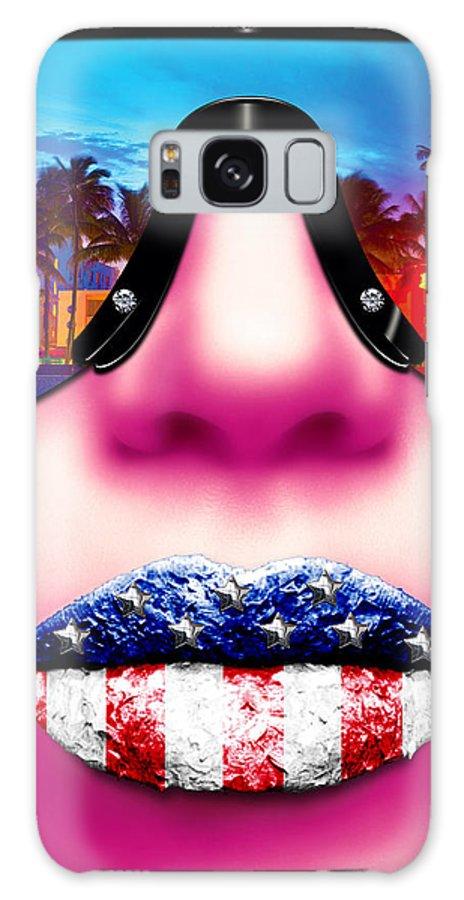 Miami Galaxy S8 Case featuring the digital art Fashionista Miami Pink by Jan Raphael