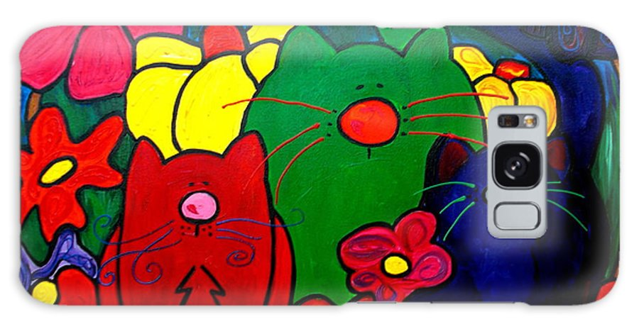 Cat Galaxy S8 Case featuring the painting Fat Cats In My Garden by Patti Schermerhorn