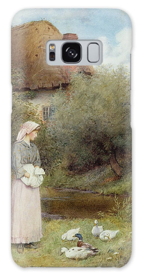 Cottage; Rural; Idyll; Thatched Roof; Duck; Girl; Stream; Countryside; Pastoral; Victorian Sentiment; Farm Galaxy S8 Case featuring the painting Feeding The Ducks by Charles Edward Wilson