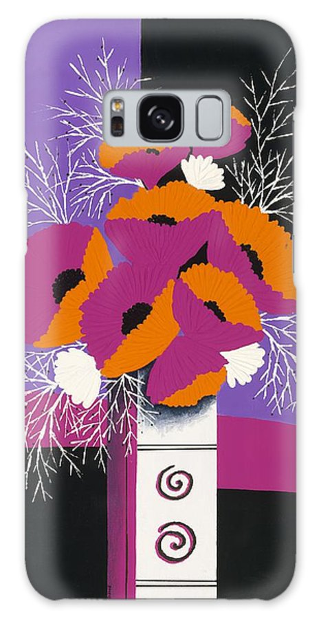 Poppies In A Contemporary Vase Galaxy Case featuring the painting Festive Winter Poppies by Carol Sabo