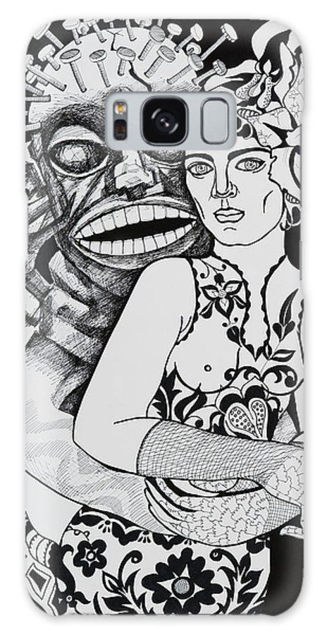 Surreal Galaxy S8 Case featuring the drawing Fetish Girl by Yelena Tylkina