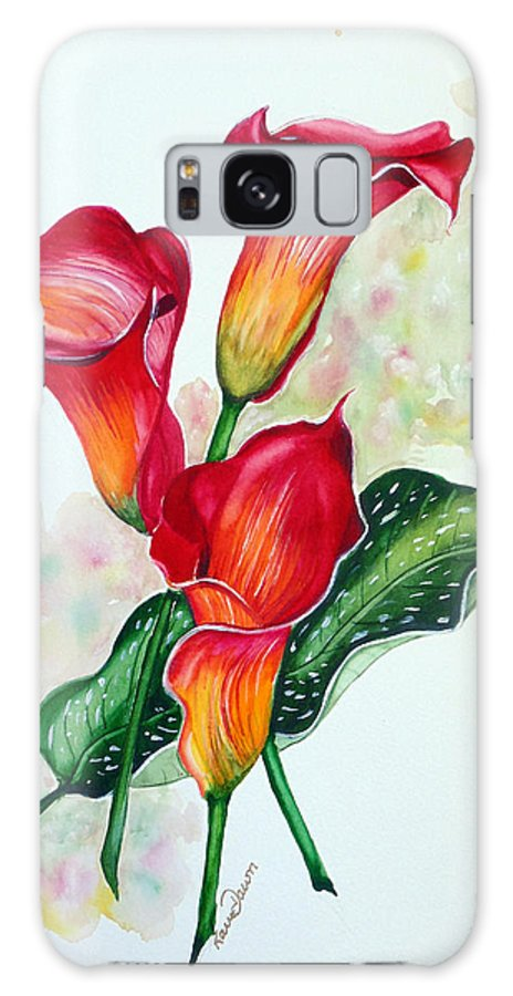 Floral Lily Paintings Flower Paintings Red Paintings Orange Paintings Calla Lily Paintings Tropical Paintings Caribbean Paintings  Greeting Card Paintings Canvas Paintings Poster Paintings Galaxy S8 Case featuring the painting Fiery Callas by Karin Dawn Kelshall- Best