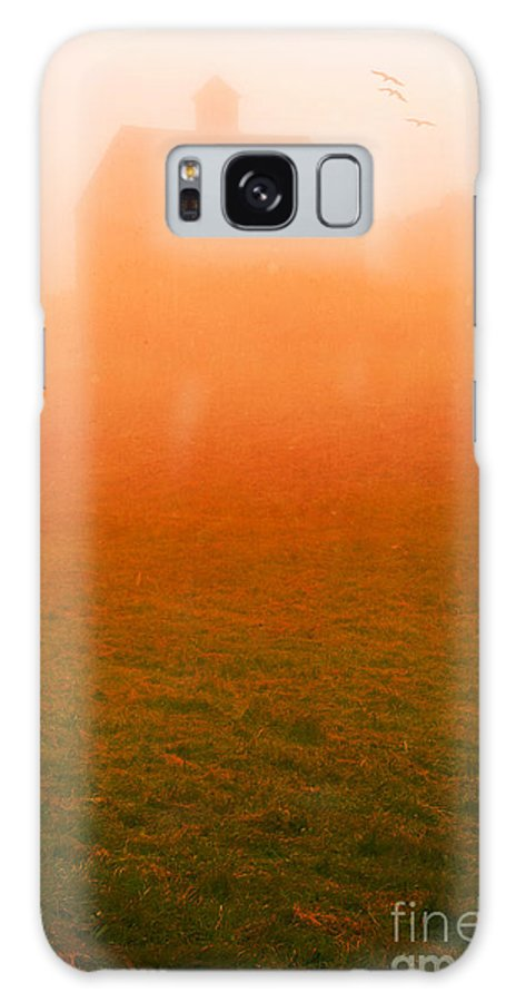 Barn Galaxy S8 Case featuring the photograph Fiery Sunrise On The Farm by Edward Fielding