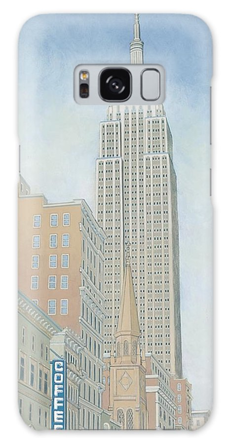 Empire State Galaxy Case featuring the painting Fifth Avenue Morning by David Hinchen