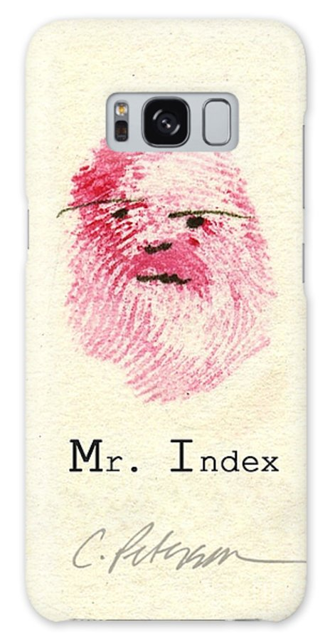 Finger Print Man Forensic Whimsy Mr Index Men Beard Signed Cathy Peterson Ventura California Listed Artist Watercolor Oil Paint Painting Modern Contemporary Impressionist Impressionism Expressionist Abstract Realism Minimalism Rural Scenes Fantasy Original Works Pen Pencil Graphic Colored Pencils India Ink Gouache Mixed Media House Coffee Fine Design Oeuvre Printmaking Westmont College Santa Barbara Cloth Panels Paper Drawings Sketches Experimental Ideas Dekalb 1964 Painter Interpretive Art Galaxy S8 Case featuring the painting Finger Prints 1998 Forensic Whimsy Mr. Index by Cathy Peterson
