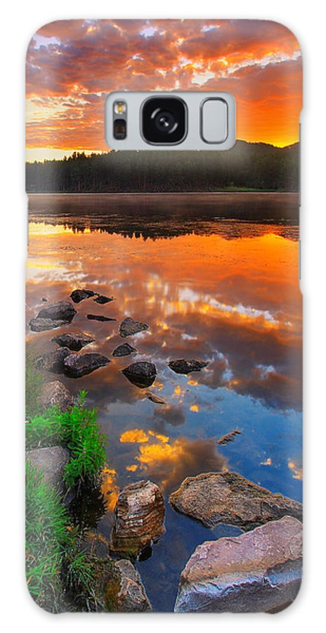 Beauty Galaxy Case featuring the photograph Fire On Water by Kadek Susanto