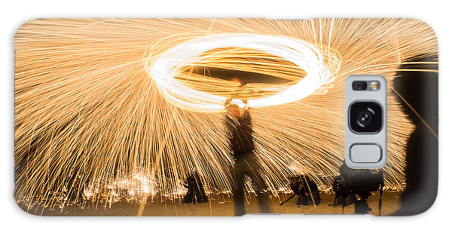 Night Galaxy S8 Case featuring the photograph Fire Spinner by Diana Weir