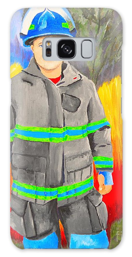 Firefighter Galaxy S8 Case featuring the painting Firefighter by Nina Stephens