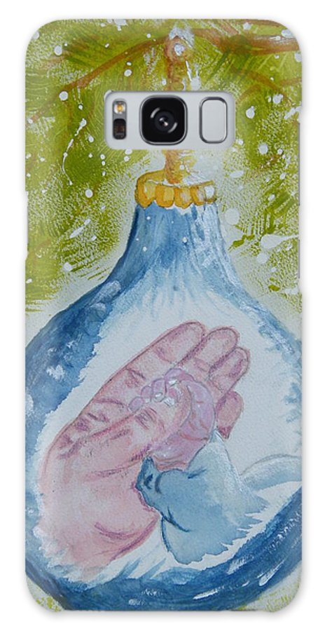 Christmas Galaxy S8 Case featuring the painting First Christmas II by Margaret G Calenda