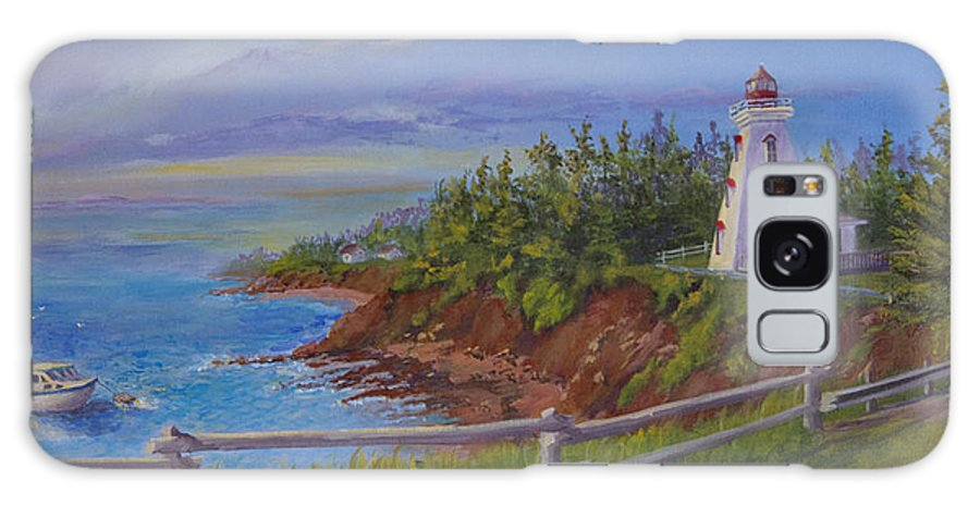 Lighthouse Galaxy S8 Case featuring the painting First Haul by Lorraine Vatcher