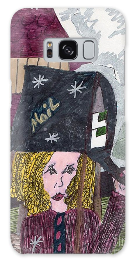 Lady Getting Mail Galaxy S8 Case featuring the mixed media First Snow by Elinor Helen Rakowski