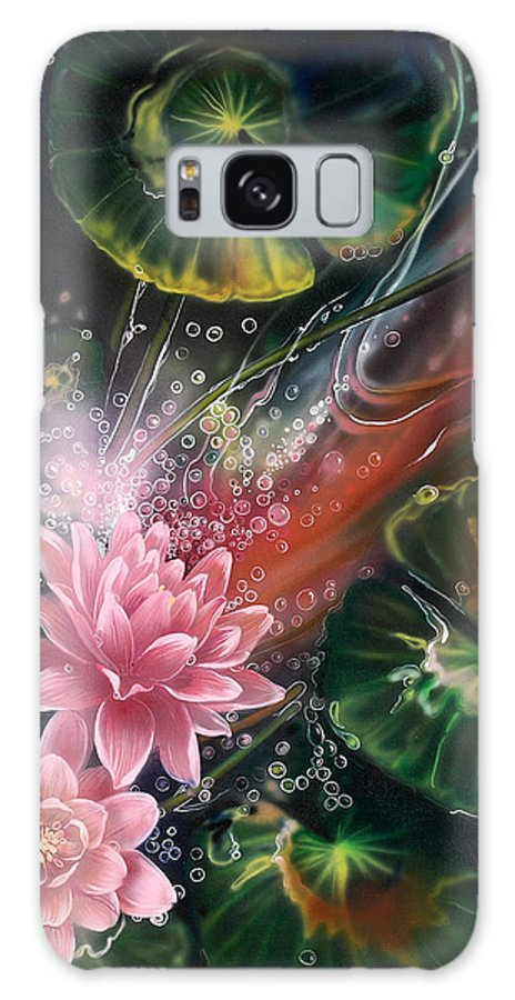 Goldfish Galaxy S8 Case featuring the painting Fish In The Lily Pond by Lynette Yencho