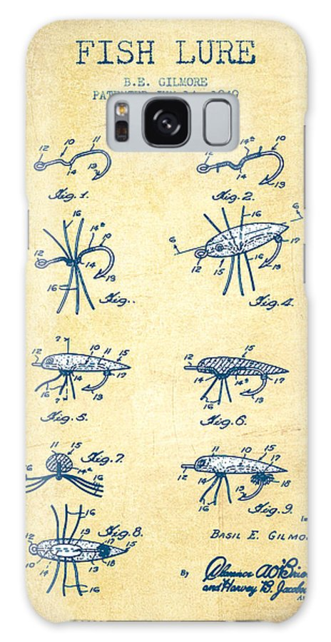 Fishing Galaxy S8 Case featuring the digital art Fish Lure Patent From 1949- Vintage Paper by Aged Pixel