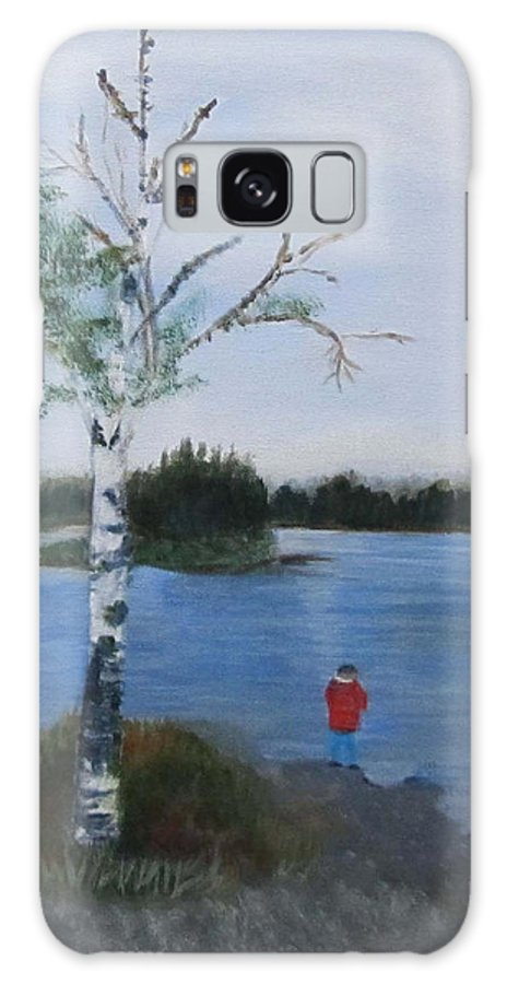 Landscape Galaxy S8 Case featuring the painting Fishing At First Connecticut Lake by Linda Feinberg