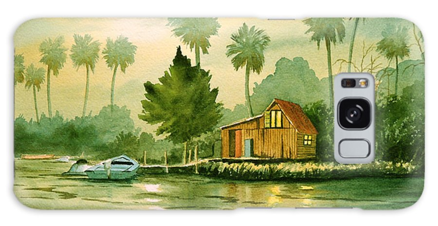 Aucilla River Florida Galaxy S8 Case featuring the painting Fishing Cabin - Aucilla River by Bill Holkham