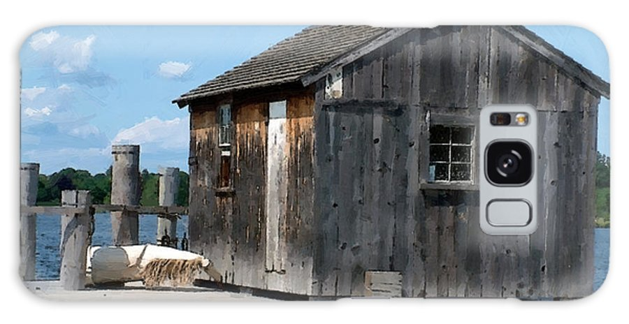 Shed Galaxy S8 Case featuring the painting Fishing Shack On The Mystic River by RC DeWinter
