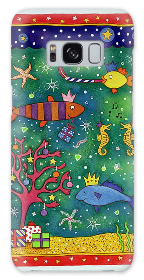 Underwater Galaxy S8 Case featuring the photograph Fishy Christmas, 1997 Wc And Pastel On Paper by Cathy Baxter