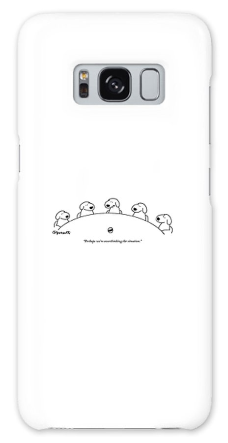 Dogs Galaxy S8 Case featuring the drawing Five Dogs Sitting Around A Roundtable by Charles Barsotti