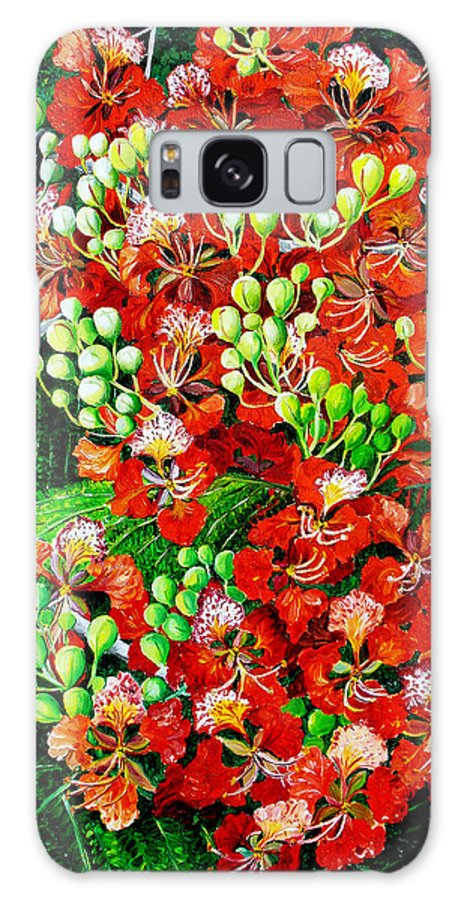 Royal Poincianna Painting Flamboyant Painting Tree Painting Botanical Tree Painting Flower Painting Floral Painting Bloom Flower Red Tree Tropical Paintinggreeting Card Painting Galaxy S8 Case featuring the painting Flamboyant In Bloom by Karin Dawn Kelshall- Best