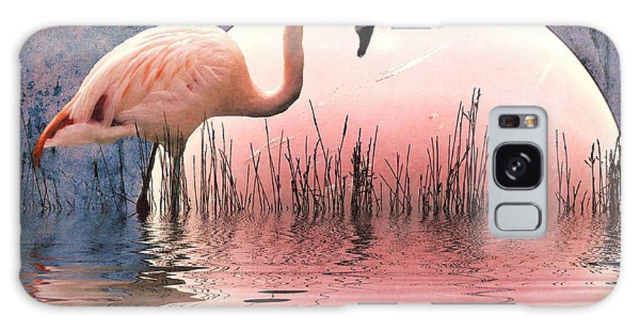 Flamingo Prints Galaxy S8 Case featuring the photograph Flamingo Moon by Sharon Lisa Clarke