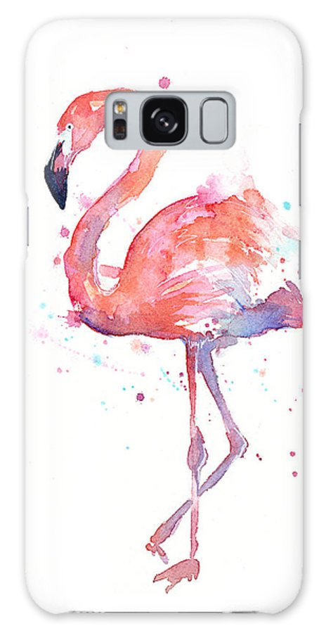 Bird Galaxy Case featuring the painting Flamingo Watercolor by Olga Shvartsur