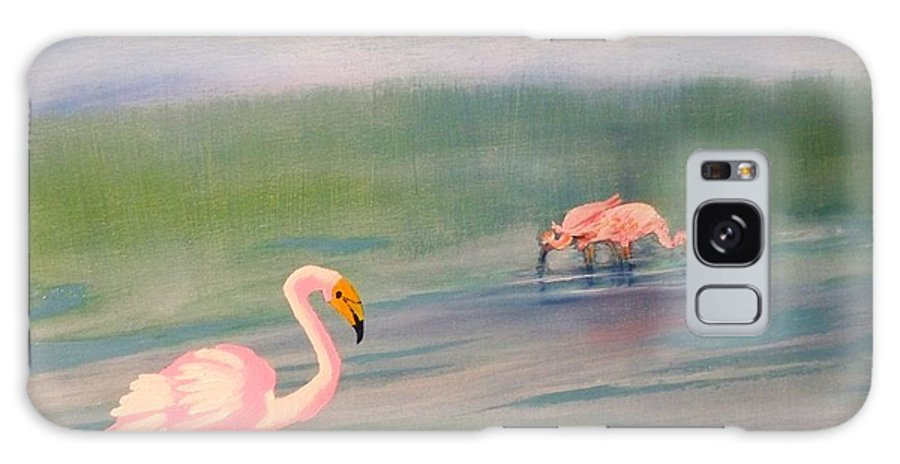 Painting Of Pick Flamingo Galaxy S8 Case featuring the painting Flamingos Frolicking by Linda Bright Toth