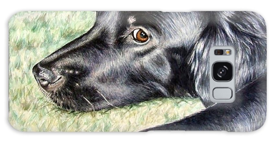 Dog Galaxy Case featuring the painting Flat Coated Retriever by Nicole Zeug