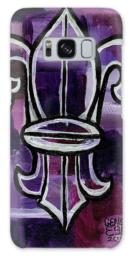 Fleur De Lys Galaxy S8 Case featuring the painting Fleur De Lis Purple Abstract by Genevieve Esson