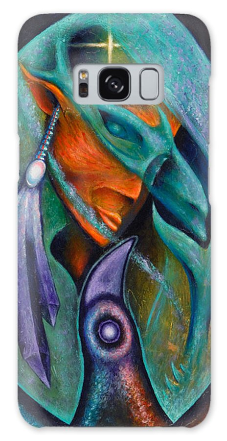 Native American Galaxy S8 Case featuring the painting Flight Of Consciousness by Kevin Chasing Wolf Hutchins