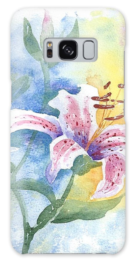 Flowers Galaxy S8 Case featuring the painting Floating Lily by Jackie Curtis
