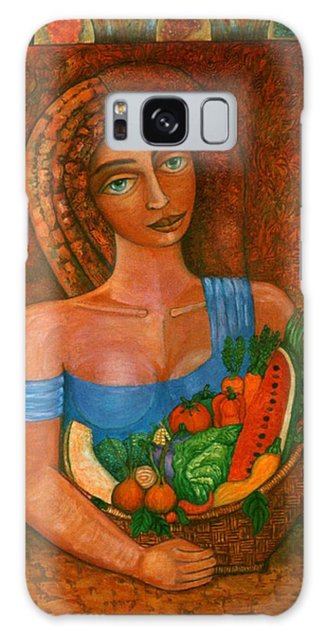 Acrylic Galaxy Case featuring the painting Flora - Goddess Of The Seeds by Madalena Lobao-Tello