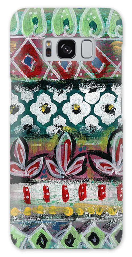 Fiesta Galaxy Case featuring the painting Floral Fiesta- Colorful Pattern Painting by Linda Woods