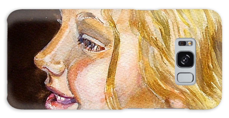 Pretty Young Girl Girl. Blonde Watercolour Portrait. Galaxy S8 Case featuring the painting Florence by Molly Farr