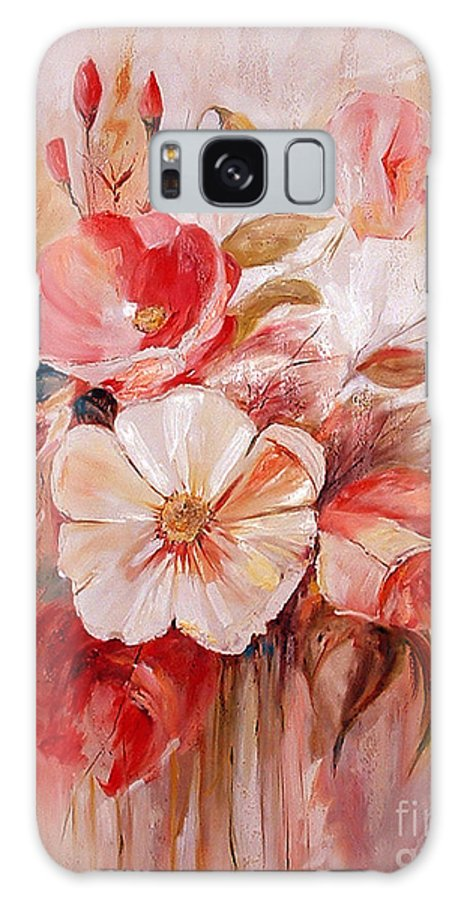 Abstract Galaxy S8 Case featuring the painting Flowers I by Silvana Abel