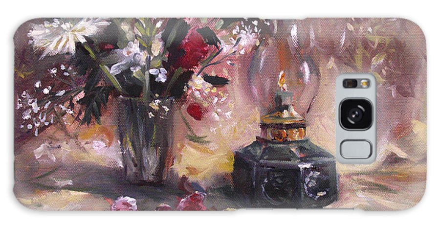 Flowers Galaxy Case featuring the painting Flowers With Lantern by Nancy Griswold