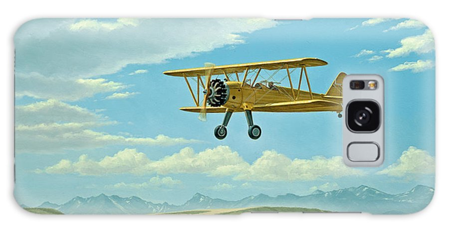 Landscape Galaxy S8 Case featuring the painting Fly-in At Three Forks - Stearman  by Paul Krapf