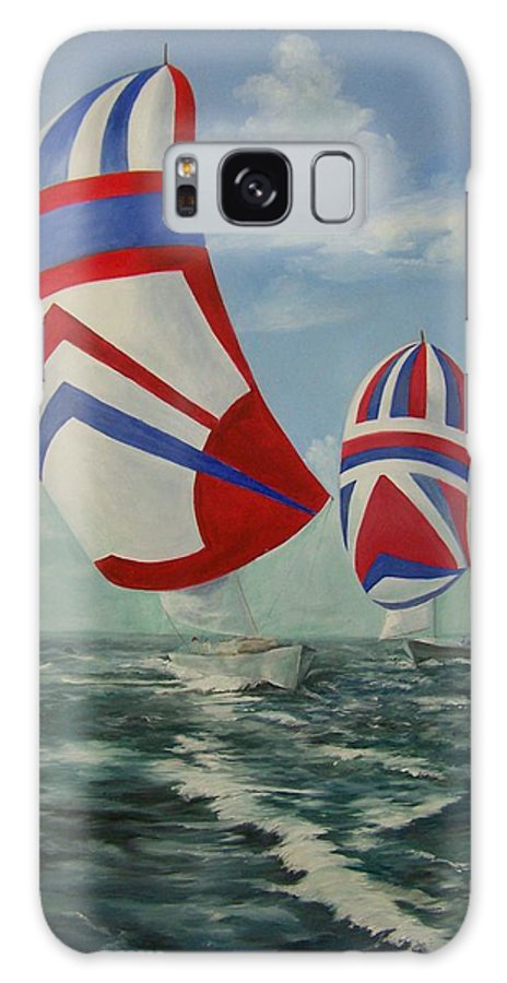 Sailing Ships Galaxy Case featuring the painting Flying The Colors by Wanda Dansereau