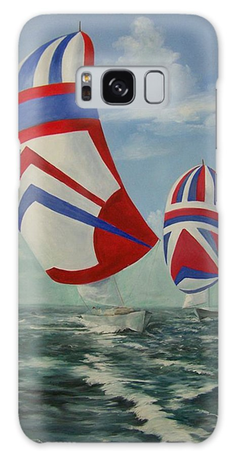 Sailing Ships Galaxy S8 Case featuring the painting Flying The Colors by Wanda Dansereau