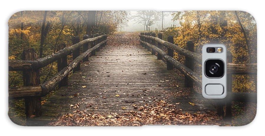 Bridge Galaxy Case featuring the photograph Foggy Lake Park Footbridge by Scott Norris