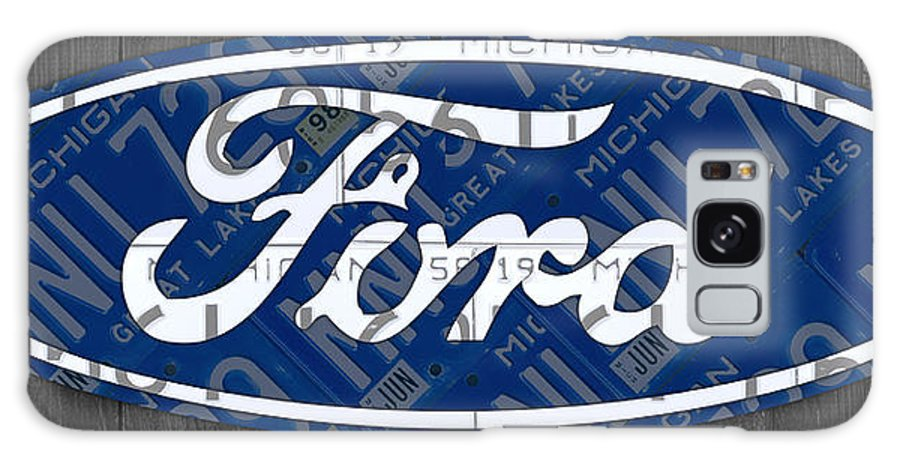 Ford Galaxy S8 Case featuring the mixed media Ford Motor Company Retro Logo License Plate Art by Design Turnpike