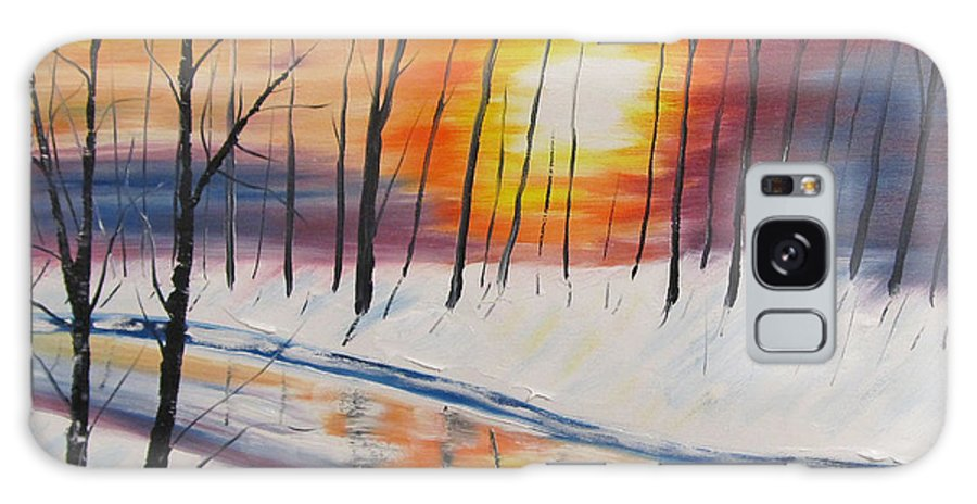 Sunset Galaxy S8 Case featuring the painting Forest Sunset by Larry Marano
