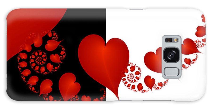 Digital Art Galaxy S8 Case featuring the digital art Fractal Red Hearts by Gabiw Art