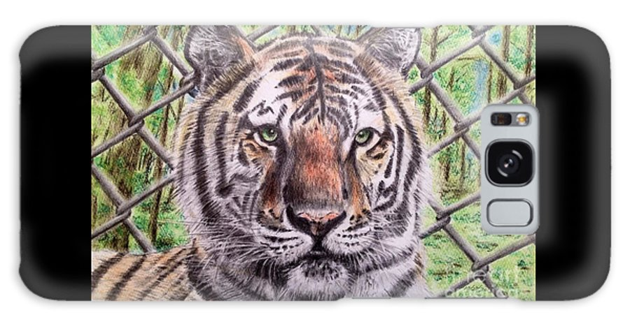 Tiger In Cage Galaxy S8 Case featuring the drawing Freedom Animal by Keiko Olds