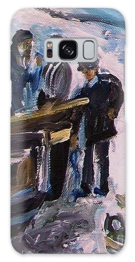 Floral Galaxy S8 Case featuring the painting French Fishermen At Beach At Sainte Adresse by Eric Schiabor